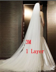 3 M Zarif Beyaz / Fildişi Tek Katmanlı Basit Peçe Uzun Tarak Ile Düğün Peçe Gelin Aksesuarları Ücretsiz Nakliye