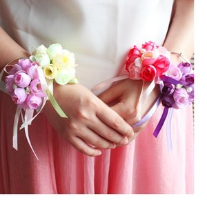 5 Colors Artificial Rose Bride Wrist Flowers Bridesmaid Sisters hand flowers For Wedding Party Decoration Bridal Prom WA1932