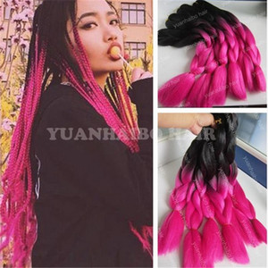 20 polegada ombre preto rosa, ombre preto azul ombre jumbo trança de cabelo 1 jet preto sintético trança de cabelo para torção tranç ...