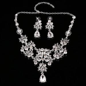 Nueva moda Rhinestone conjuntos de la joyería de la boda para la novia Prom Party Costume Accessories Nupcial collar pendiente Sets especial Formal