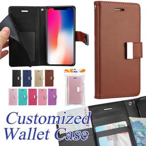 Custodia a portafoglio Premium per iPhone XS Max XR 8 7 Plus Custodia a scatto Custodia per Kickstand per Samsung S8 S9 Plus Custodia in pelle Custodia OPP
