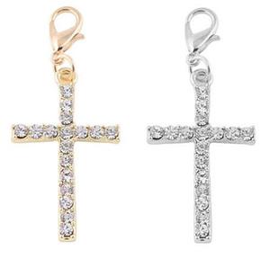 20 шт./лот серебряный позолоченный крест плавающий кулон подвески с карабинчиком, пригодный для цепи медальон ожерелье браслет решений