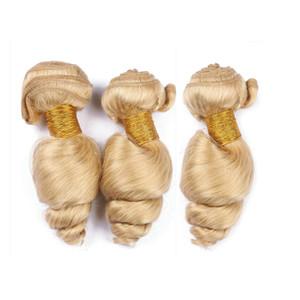 느슨한 웨이브 금발 머리는 높은 Qulaity 금발을 짜다 # 613 브라질 인간의 머리를 길러 확장 3 번들 100g / pc 느슨한 깊은 헤어 번들