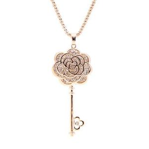 Высококачественный австрийский Кристалл свадьба невеста розовые цветы ключи подвески настоящее золото Шарм колье ожерелья изысканные ювелирные изделия аксессуары для женщин