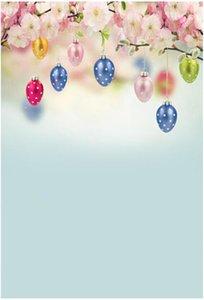 Feliz día de Pascua Fotografía Telones de fondo Vinilo Huevos de colores Primavera Rosa Flor Flores Niños Niños Foto Estudio Fondo