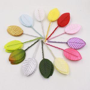 Wholesale-30pcs 5cm Nylon Silk Leaf Green Leaves Artificial Flower For Wedding Decoration DIY Wreath Gift Scrapbooking Craft Fake Flower