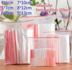 500pcs / lot (4 * 6cm 5 * 7cm 6 * 8 cm 7 * 10cm 8 * 12cm 9 13cm *) Temizle Açılıp kapanabilir plastik torbalar PE Zip Kilit Gıda Saklama Poşetleri Takı Yüzükler Küpeler Çanta