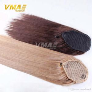 Cola de caballo de cabello humano recto natural del pelo de cola de caballo no Remy estrecho agujero clip en una cola de caballo con cordón Extensiones de cabello