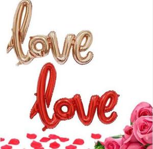 Ligaduras LOVE Carta Foil Balloon Anniversary Wedding Valentines Party Decoration Globo Champagne Rojo Envío Gratis
