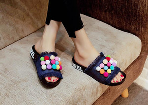 2017 New Summer Style Slippers Denim Women's Denim slippers Candy Color Fluffy Ball Flat Heel Female Rubber Sandals