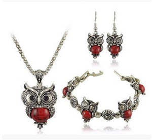 DHL Jewelry Sets Tibet Silver Vintage Turquoise Owl Pendant Necklace Charms Earring Bracelet Jewelry Set for Women Christmas Gift