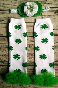 Infantil Dia de St. Patrick do bebê do trevo de cabeça Ruffle Leg 2pc mais quente definir esperançoso doce verde trevo de quatro folhas Diamante cabeça Legwarmers