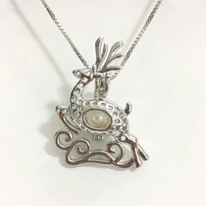 Ciervo de Navidad Locket jaula, Elk estilo Corriente Puede abrir el colgante de perlas de montaje para DIY collar pulsera encantos encantadores