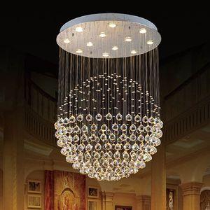 جديد الحديثة led k9 الكرة الثريات الكريستال أضواء قلادة ضوء الثريا الكريستال الثريا واضح الكرة ضوء السقف