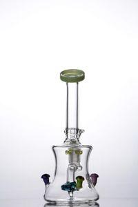 Colored mushroom mini 14 mm joint Bong glass water pipes dab rigs bongs recycler oil rigs bongs burner hookah