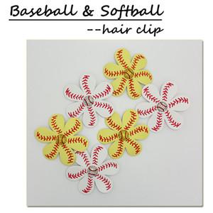 Softball Flower hair clip,softball hair bows,softball hairbow,baseball hairbow