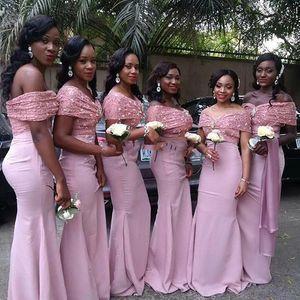 2017 Dusty Pink Arabisch Schulterfrei Meerjungfrau Brautjungfernkleider Spitze Appliques Backless Elegante Trauzeugin Kleider South African