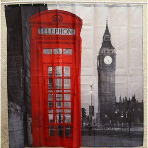 Atacado-Criativo Impermeável 3D London Big Ben Cortina de Chuveiro Produto Do Banheiro Poliéster Cabine de Telefone Padrão com 12 Ganchos Decoração Do Banho