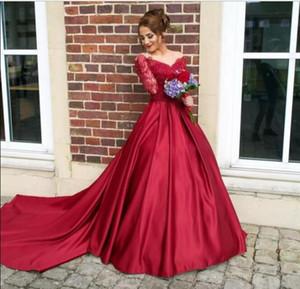 Apliques 2K17 Borgoña Fantasía Nueva Vestidos de Fiesta promdresses de encaje con cuentas de manga larga atractiva del botón Volver una línea de vestidos de noche de recepción