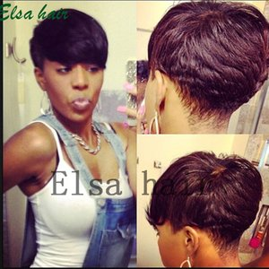 Brazilian Short Cheap Human Hair Wigs Unprocessed Italian Pixie cut Straight 100% Human Hair Wigs Virgin hair wigs For Black Women