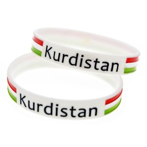 100PCS Tinte gefüllt Logo-Erwachsen-Größe Kurdistan-Flaggen-Silikon-Armband perfekt Einsatz in jedem Vorteile Geschenk
