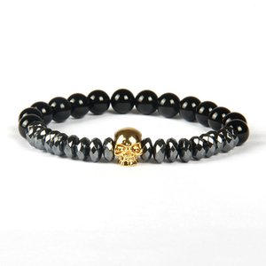 Bijoux de mode en gros 8mm A Grade Black Onyx Pierre Perles avec Rhombus Cut Hematite Perles Micro Pave Skull Bracelets