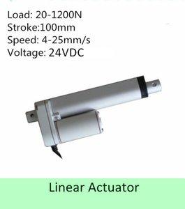 24VDC 4 polegadas 100 mm de curso 44 lbs 200N 25 mm / s IP 65 baixo nível de ruído mini tamanho atuador linear