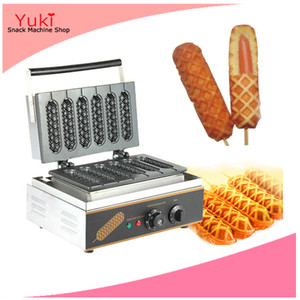 220 v 110 v Hot Dog Gaufrier Commercial 6 PCS Croustillant Hot Dog Gaufre Sticker Machine Machine Muffin Électrique Gaufrette Chien