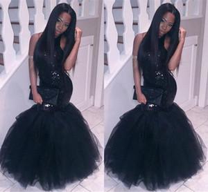 New Little Black Prom Dresses Mermaid Paillettes Halter Neck Puffy Tulle Long Fashion Couples 2K17 Abiti da sera Red Carpet