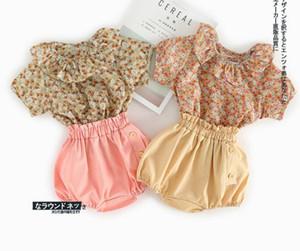 Ins Baby girl kids 2 Pieces Set Детский летний костюм для девочек 100% хлопок мягкая удобная рубашка с цветочным принтом + короткие комплекты детской одежды 2 цвета