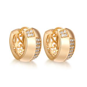 Ohrringe 18K Gelbgold überzogener Band-Ohrringe Gepflasterte österreichische Zirkonia für elegante Frauen Fashion Jewelry