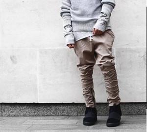 Noir / Vert / Gris / pantalon kaki harems glissière latérale hommes jogger club wear salopette hommes chinos Hot Vendre Pantalons simple