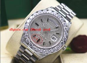 최고 품질 럭셔리 손목 시계 망 18038 18k 화이트 골드 더 큰 다이아몬드 41MM 시계 자동 기계 운동 남자 시계