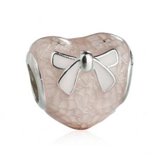 Valentim Day Lace Bow Encantos Bead Fit Marca Braceletes 925 Esterlina Prata Cor-de-rosa Enamel Bow-Nó Coração Beads DIY Jóias Acessórios HB710