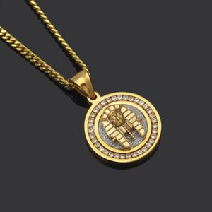 Chapado en oro de Hiphop Joyería Círculo Faraón Collares pendientes Para Hombres de Calidad Superior Lleno de Diamante Cadenas de Hip Hop Accesorios de Lujo