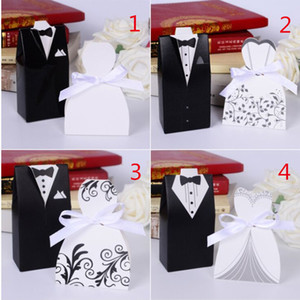 Wholesale- Free Shipping 100pcs wedding centerpieces Bride and Groom Wedding Favor Candy box ribbon wedding souvenirs decoration mariage