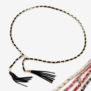 Kadın bekaret kemeri basit yılan zincir deri kemer kadınlar ve bayanlar için tasarımcı kemerleri yaz metal saçak zincirler moda için elbise