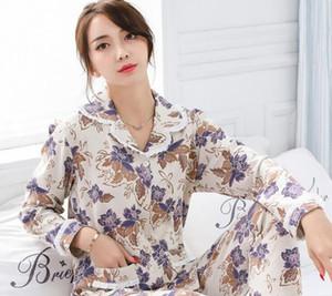 Automne et hiver nouvelle pyjama en coton dame costume cardigan à manches longues revers cardigan mère d'âge moyen peut porter le service à domicile