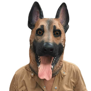 Wholesale- Animal Dog Head Full Face Latex Party Mask Halloween Dance Party Costume Wolfhound Masks Theater Toys Fancy Dress Festival Gifts