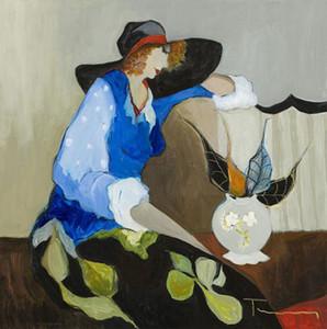 Umrahmte Itzchak Tarkay Frau, reine handgemalte abstrakte Porträts Hauptwand Art Deco Ölgemälde auf Canvas.Multi Größen Kostenloser Versand It060