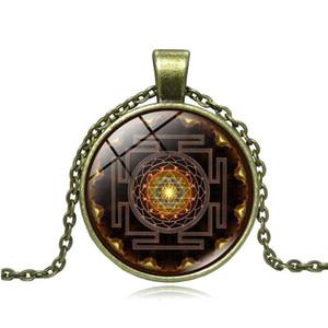 Charms budista gota tempo Sri Yantra pingentes colar Choker Marca Declaração Collar Bronze Vintage Cadeia Mulheres Jóias