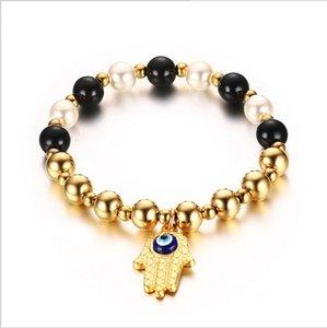 Yoga Modeschmuck Elastizität Perlen Armbänder Für Frau Bösen Augen in Hamsa Charms Armreifen Pulseras Mujer Geschenk BR-323