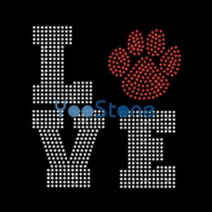 For Sale Peace Love Paw Rhinestone Transfer Iron On Hot Fix Motif For Garment