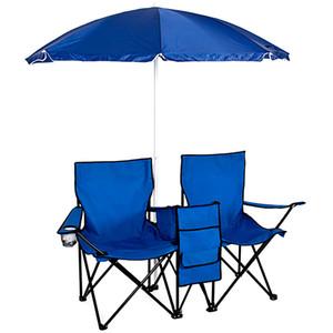Pique-nique Chaise pliante double avec parapluie Table Cooler pliables plage Chaise de camping