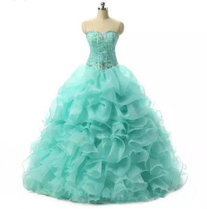 2018 Elegant Ball Gowns Mint Blue Quinceanera Dresses With Beads Crystals Sweet 16 Dresses 15 Year Prom Gowns Stock QS1028
