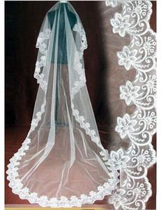 Ücretsiz Kargo yüksek kalite yeni toptan 3 metre veils düğün aksesuar dantel Gelin Veils Beyaz Fildişi Ucuz Fiyat