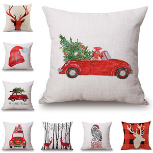 8 Styles Merry Christmas Cushion Cover Colour Paintings Reindeer Elk Tree Red Car Hat Cushion Covers Decorative Linen Beige Pillow Case
