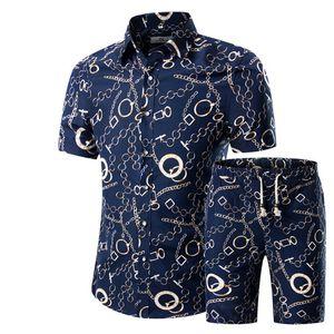 Erkekler Gömlek + Şort Seti Yeni Yaz Casual Baskılı Hawaii Gömlek Homme Kısa Erkek Baskı Elbise Suit Set Artı boyutu