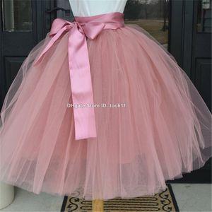 Moda Atacado 7 camadas Midi Tulle saia Adulto American Vintage Lolita saia tutu Mulheres Petticoat longo Dolly Elastic Skirt dança