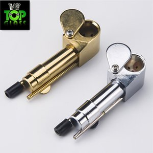DHL Brass Proto Smoking Pipe Metal Portable Pipes Golden Color China Direct Ultimate Tool Tobacco Oil Herb Hidden Bowl
